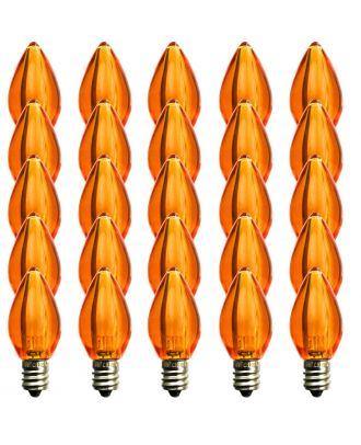 (25) C7 Orange Smooth finish LED Bulb