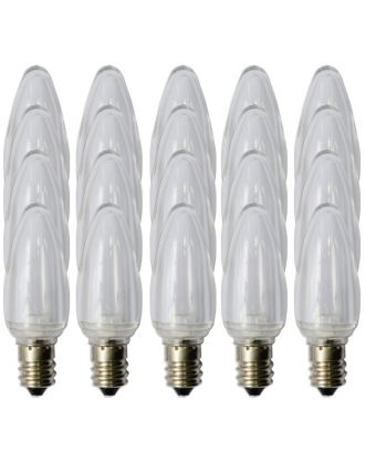 Box of 25 C7 pure white Smooth finish LED bulbs