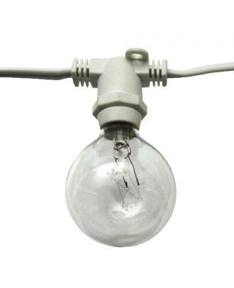 Molded socket white globe string lights
