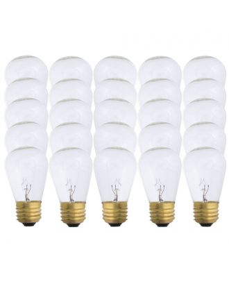 Warm White S14-11w Patio Light String replacement bulbs 25 count