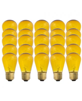 Yellow Tinted S14-11w Patio Light String replacement bulbs 25 count